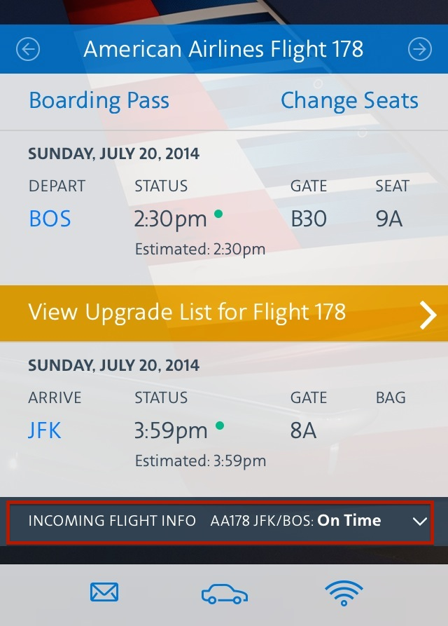 American Airlines Iphone App Shows Incoming Flight