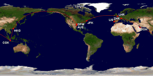 One possible routing to Indonesia and Around the World