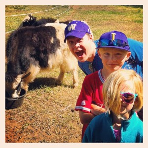 Spending time with my niece, Amelia, and my nephew, Luca, with some yaks in Colorado.