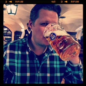 Having a beer at Munich's famous Hofbrauhaus