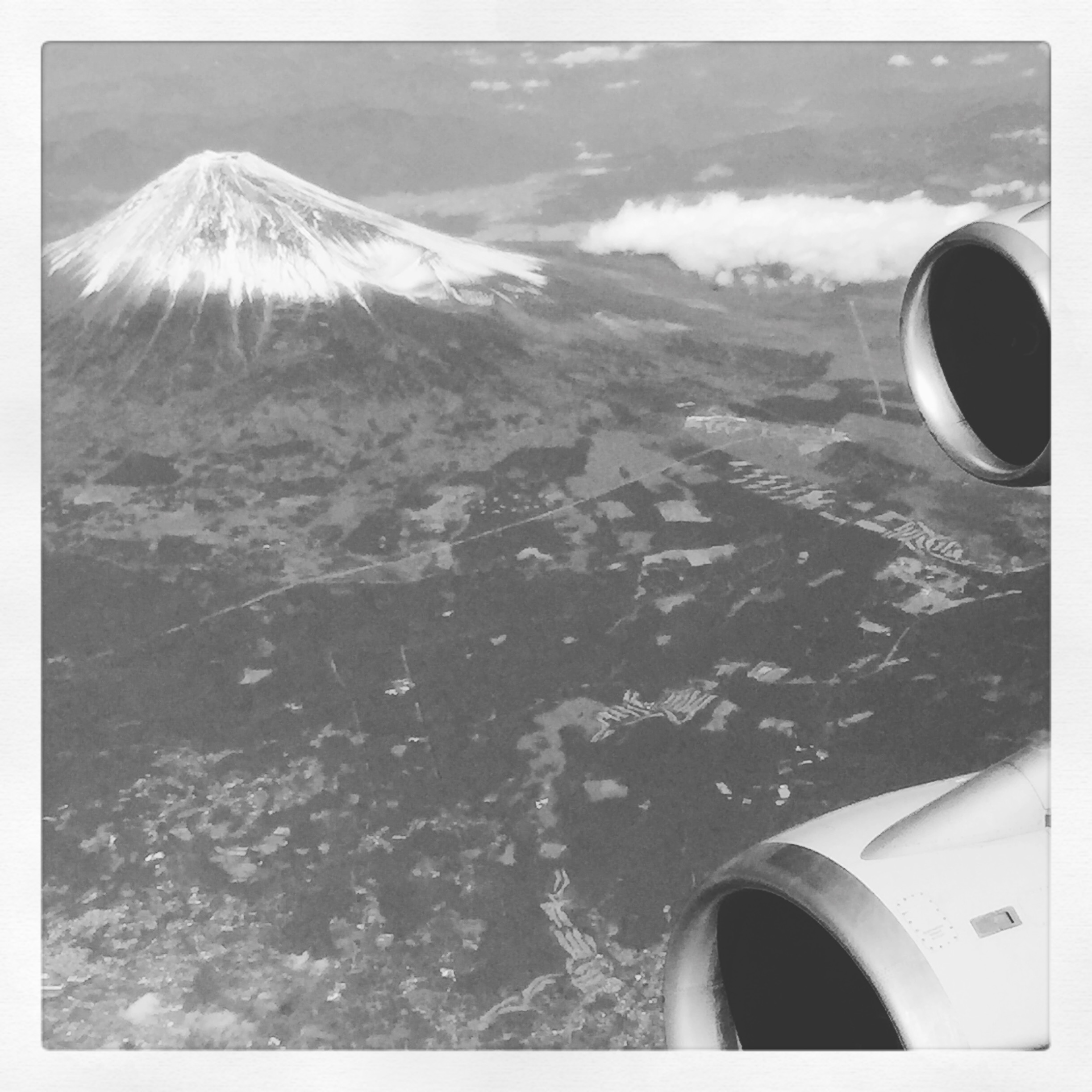 Perfect view to finish off the Tokyo trip: Mt. Fuji and Boeing 747 engines while climbing out of Tokyo-Haneda airport.